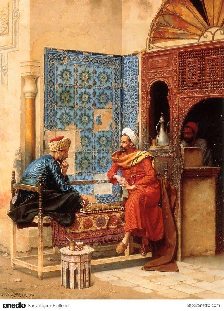 ''Osmanlı Coğrafyasından Oryantalist Tablolar'' Satranç - Ludwig Deutsch, 1896