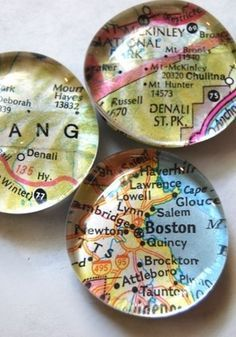 How to Make Glass Marble Magnets With Any Image - I have done this before but I like the maps!