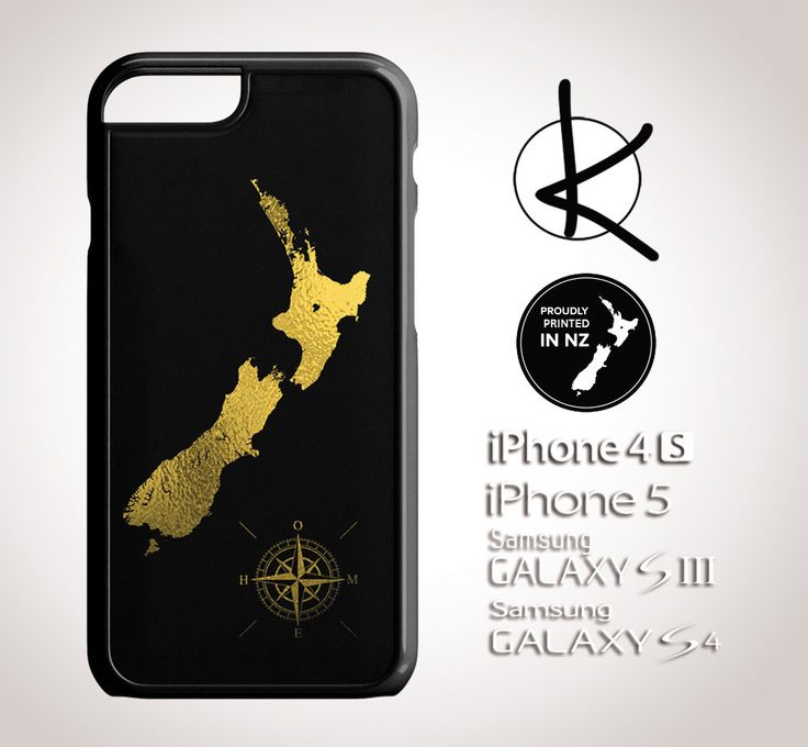 Gold Foil New Zealand with Home Compass - iPhone 4/4S, 5/5S, 6 and Samsung Galaxy S3,S4, S5 Choose Colours by Kultured on Etsy
