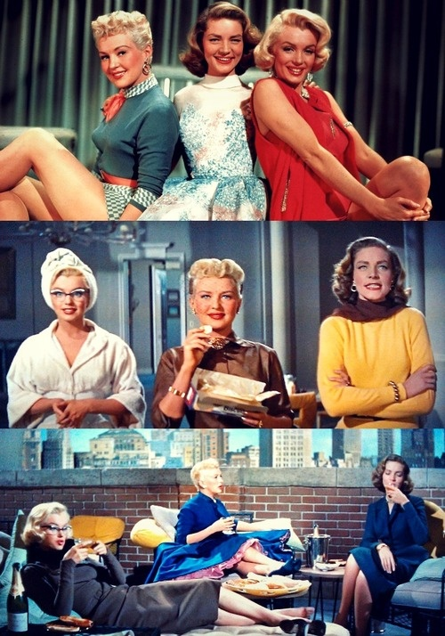 "Marilyn Monroe as Pola Debevoise, Lauren Bacall as Schatze Page & Betty Grable as Loco Dempsey in ""How to Marry a Millionaire""  release date Nov 5,1953"