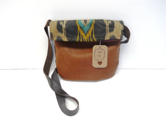 Leather and handwoven silk fold over shoulder bag with cowhide strap - Willow and Muse