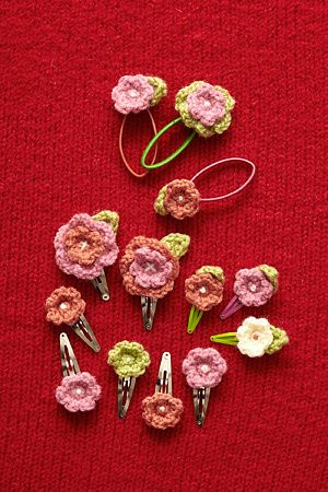 Crochet flower hair accessories instructions - lionbrand website -- need to sign up (free) to see pattern