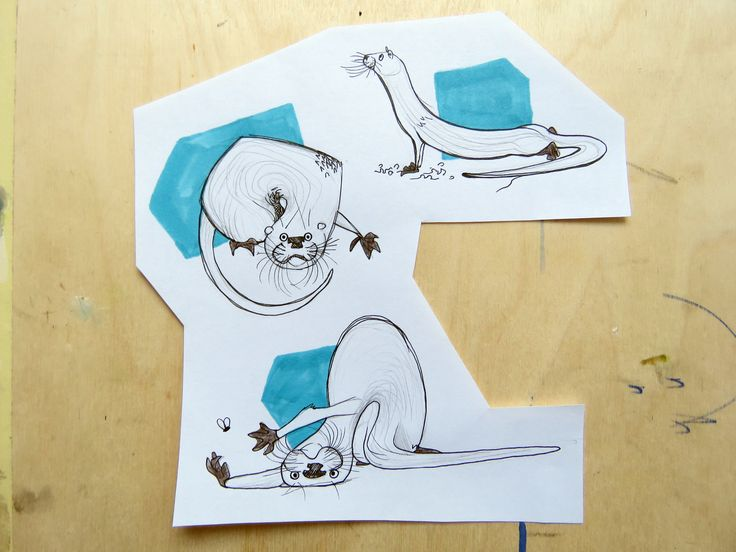 Otter character / animal drawing blue sketck funny /