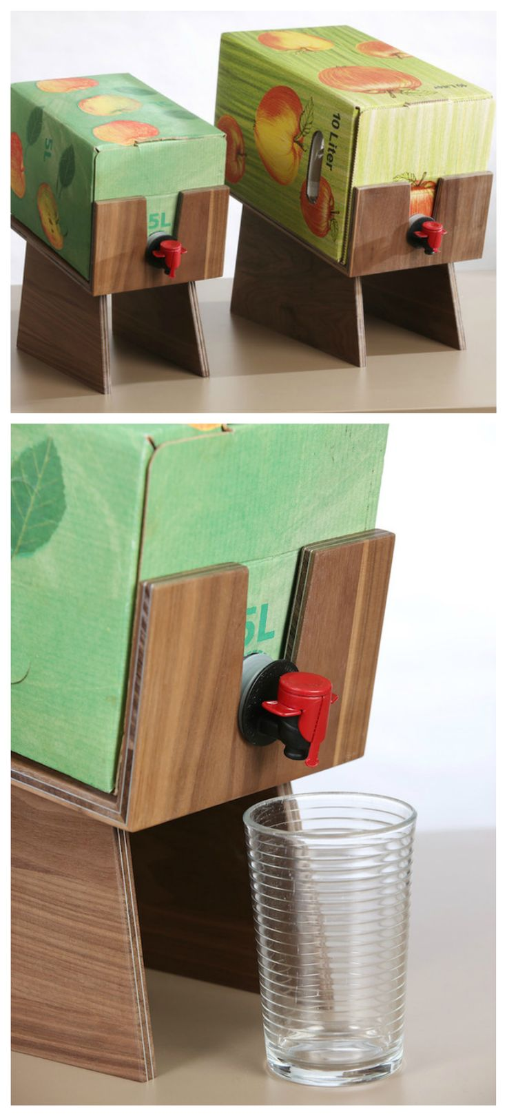 Praktischer Halter aus Holz für Saftkartons für einfacheres Gießen / wooden juice box holder, easy living hack made by BuE Möbel via DaWanda.com