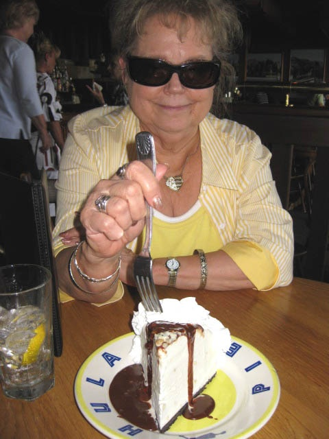 Author Janet Chester Bly chooses an awesome cream cheese pie dessert after a long day of research on location in Seaside, Oregon, for the novel Stuart Brannon's Final Shot.