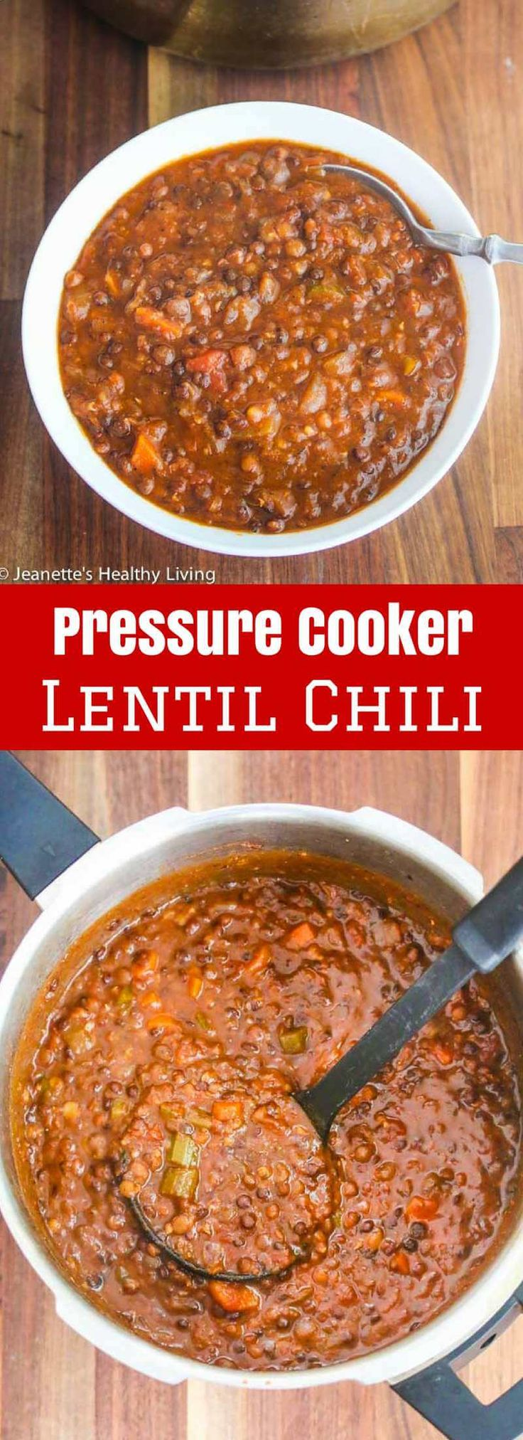 Pressure Cooker Lentil Chili - 300 calories/18 grams protein per serving ~ lentils take just 14 minutes to cook in a pressure cooker - this vegetarian/vegan chili is deliciously hearty ~ http://jeanetteshealthyliving.com