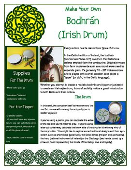 Irish drum craft! Make a bodhran drum and the beater used to play it - for St. Patrick's Day or any study of Irish or Celtic culture!