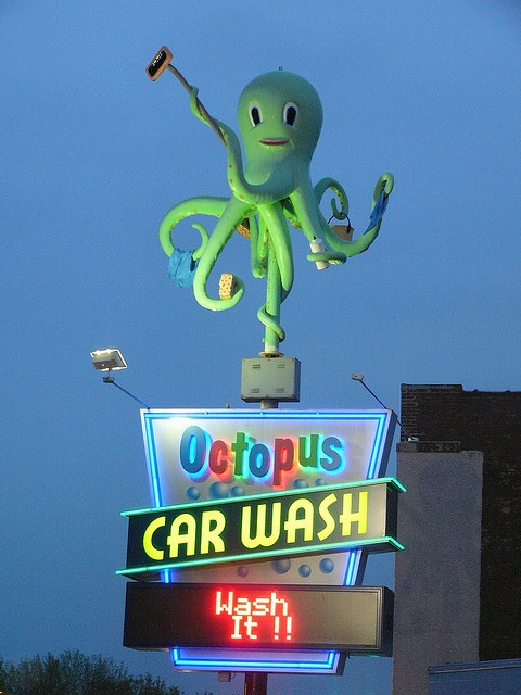 Octopus Car Wash Neon Sign..each tentacle has another washing utensil in it. very clever!!!