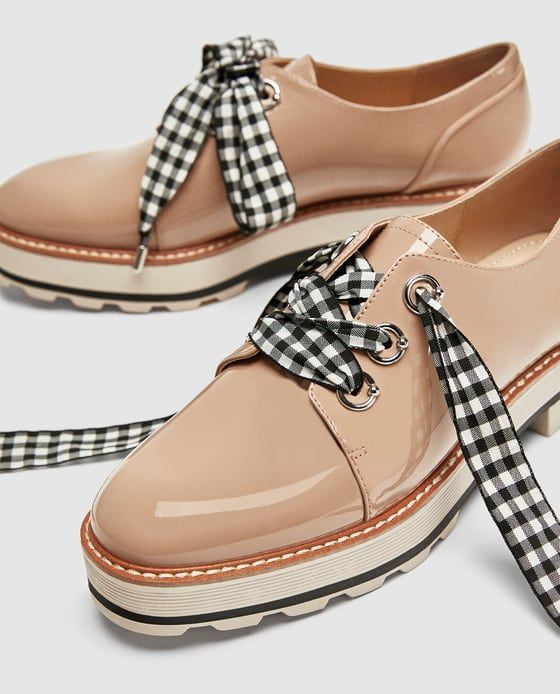 ZARA - WOMAN - FAUX PATENT LEATHER DERBY SHOES WITH BOW DETAIL