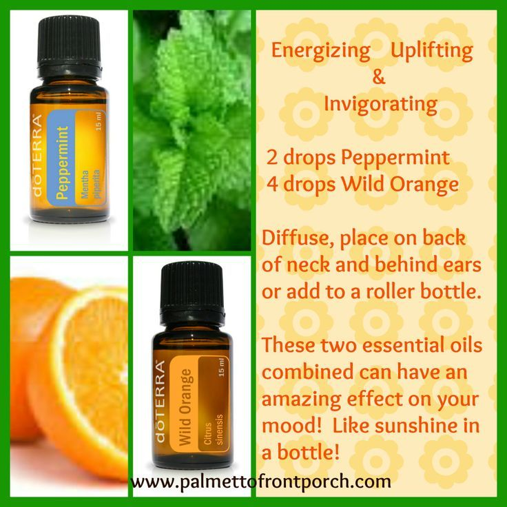 1. The Wake Up Blend in diffuser   This is a much-loved combo, and for good reason! It's perfect to increase alertness, or when you need a quick pick-me-up.   2 drops Wild Orange Essential oil + 2 drops Peppermint Essential oil