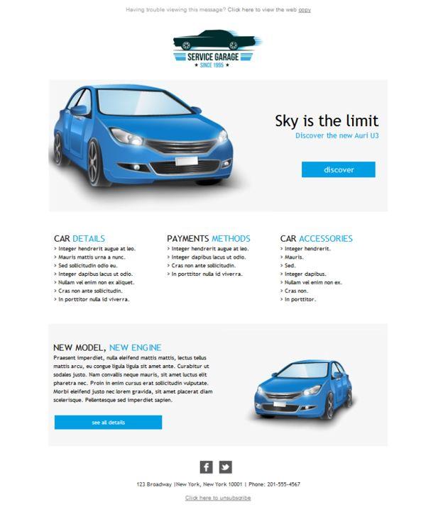 Recibes todos los modelos de automóviles para la exposición en tu concesionario, ¿y no envías emailing a tus clientes? Error, amigo, porque con estas plantillas newsletter informarás a los clientes de los nuevos productos del mercado.