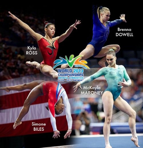 Kyla Ross, Brenna Dowell, Simone Biles, and McKayla Maroney have been named as the American World team. Elizabeth Price is the non-traveling alternate.