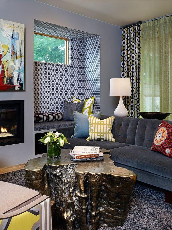 Орнаменты в интерьере   #гостиная #камин #ниша #пчелиныесоты #серый
