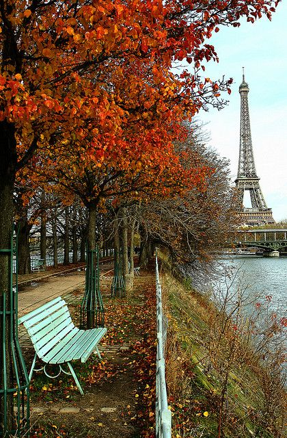A bench on the bank of the Seine, Paris
