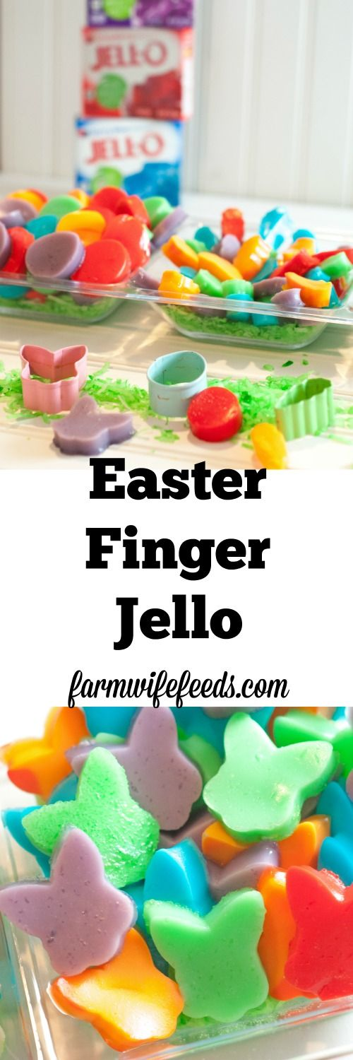 Easter Finger Jello is a huge hit with the kids, not only to eat but to help make as well! Jello, cookie cutters and kids make a great combination.