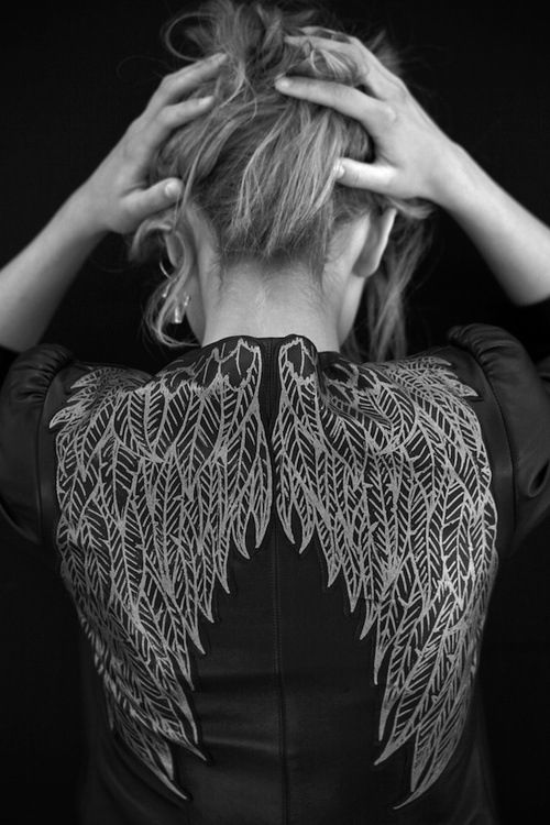 Metallic Sketched Wings On Blazer | Skemmtilegt
