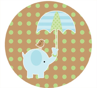 Blue Elephant Baby Shower 2.5 Inch Round Stickers, More Stickers 2.5 in