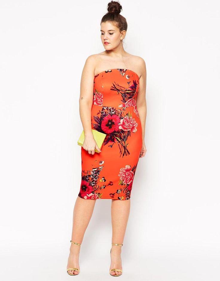ASOS Curve | ASOS CURVE Bouquet Placed Bandeau Dress in Longer Length at ASOS