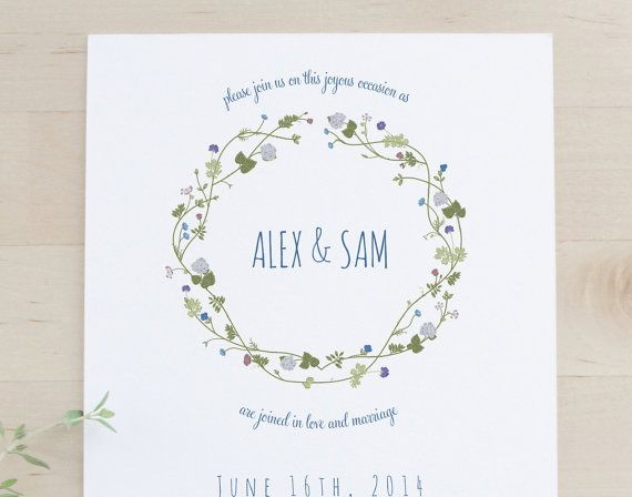 Foral wreath save-the-dates - new for spring 2014