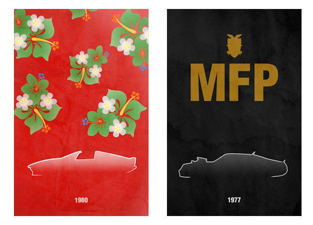 Movie/TV posters based on the movie's car- these are great #graphicdesign
