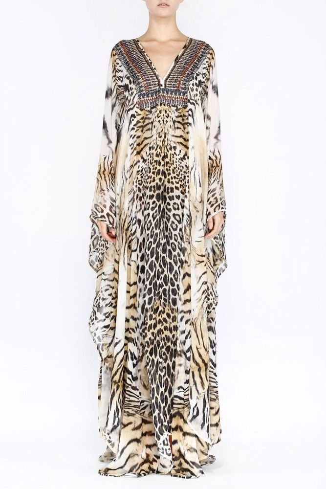 Camilla Franks Long Silk Animal Print V-Neck Kaftan Dress