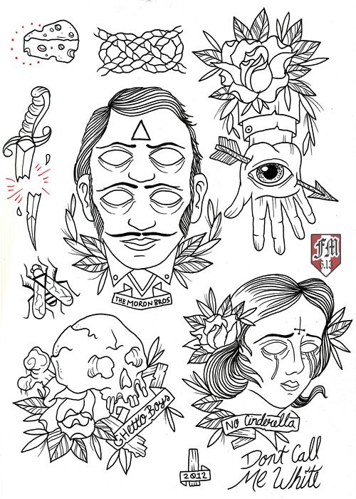 francomaldonado79: NOFX Tattoo Flash line work ready for this coming friday 13th!!! color soon!