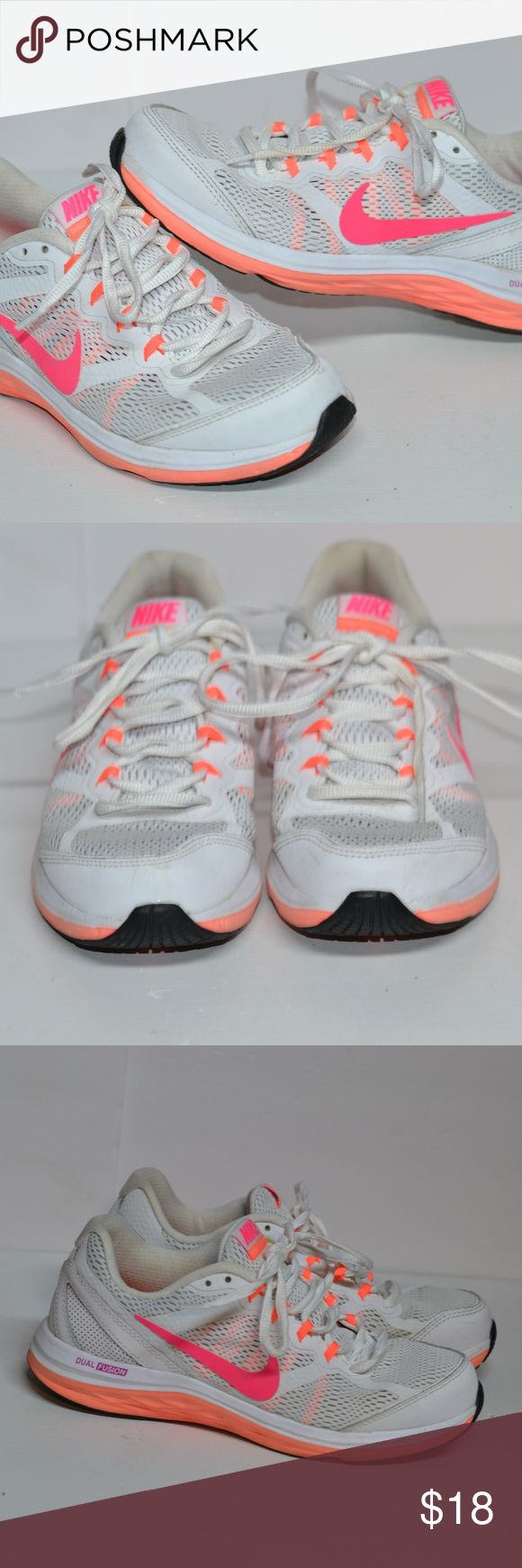 Nike Dual Fusion Neon 7.5 Nike Dual Fusion Neon 7.5 excellent condition just wrong size, Neon Pink and Orange Nike Shoes Athletic Shoes