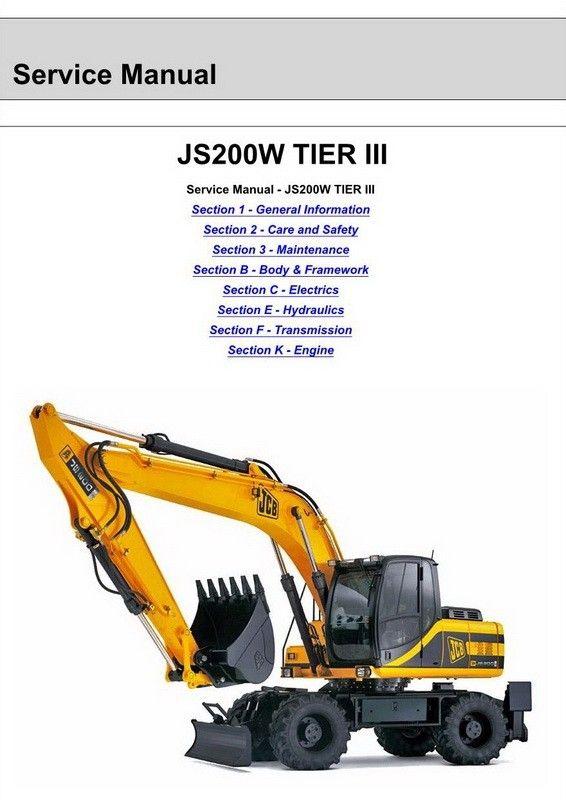 JCB JS200W Wheeled Excavator Service Manual - 9803/9540-5   JCB