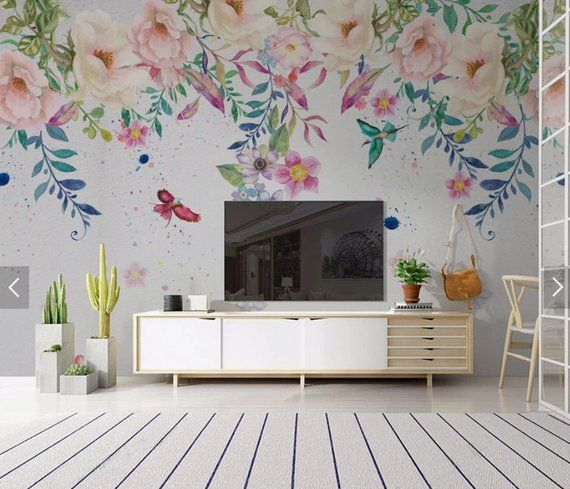 European Hand Painted Flower Wallpaper Mural Art Wall Decals Home Wall Decor 3d Printed Photo Floral Wall Paper R Adhesive Wall Art Wall Murals Home Wall Decor