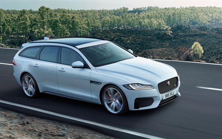 Télécharger fonds d'écran Jaguar XF Sportbrake, 4k, 2018 voitures, des wagons, des voitures anglaises, route, Jaguar