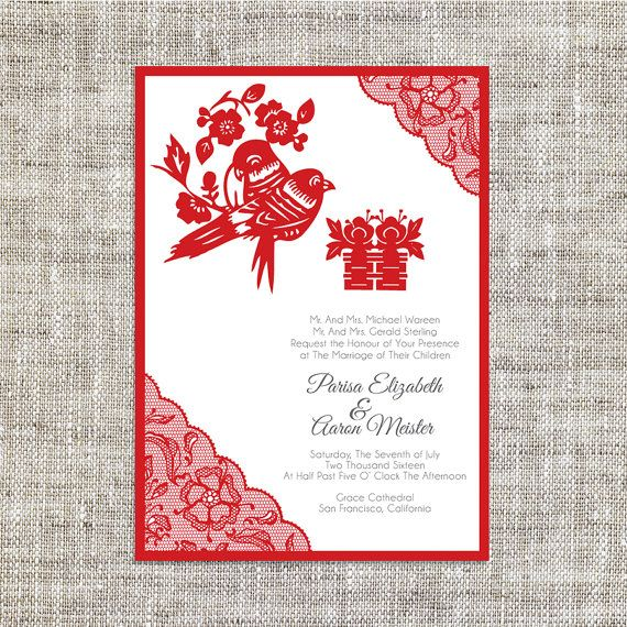 DIY Printable / Editable Chinese Wedding Invitation Card by ImLeaf