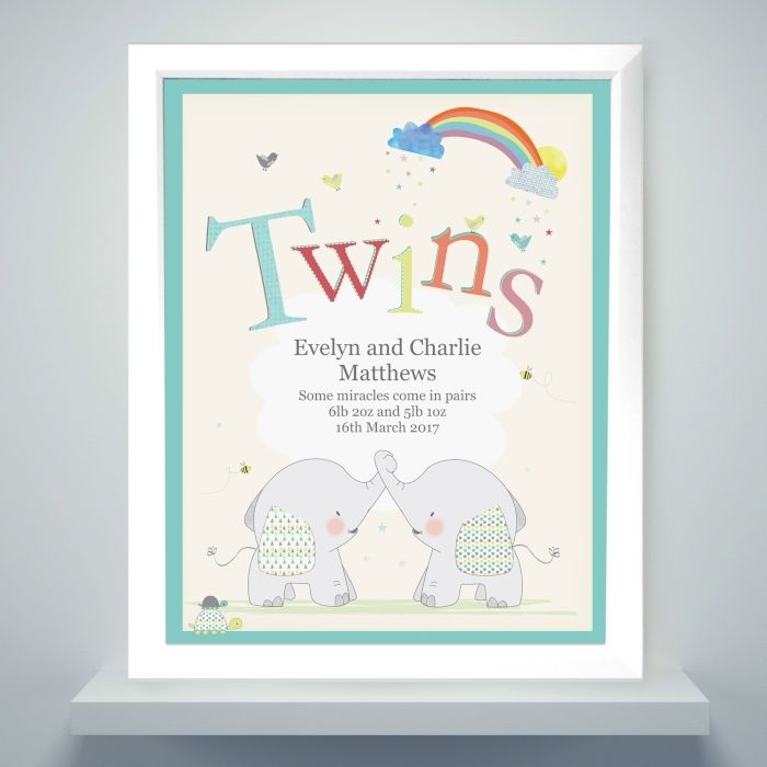 What an adorable gift for a set of twins!  This Hessian Elephant Twins Poster Frame can be personalised with 5 lines of text. Lines 1 & 2 can hold up to 25 characters per line and will appear in a larger font. Lines 3, 4 & 5 can hold up to 30 characters per line and will appear in a slightly smaller font.  The word 'Twins' is fixed text.  The personalisation is case sensitive and will appear as entered.  To finish this stylish piece of art, each piece is mounted and framed in a large white…