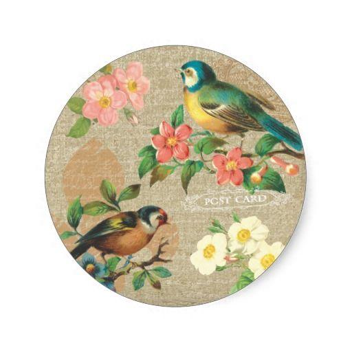 De rustieke Vintage Sjofele Elegantie van Vogels Ronde Stickers