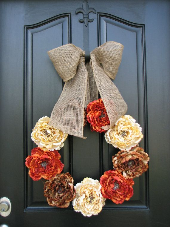 Wreaths for Fall, Wreaths, Fall Wreaths, Burlap Ribbon, Fall Decor, Front Door Wreaths, Holidays, Thanksgiving, Harvest, Autumn Colors