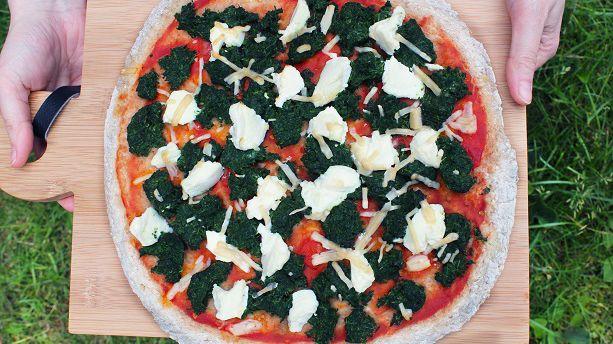 Vegetarpizza med spinat og ricotta