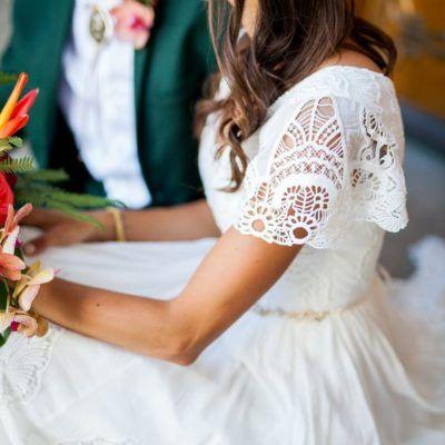 flutter-sleeve-boho-modest-wedding-dress