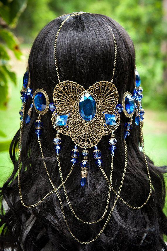 Beautiful handmade Sapphire blue Ocean Dream Goddess Circlet