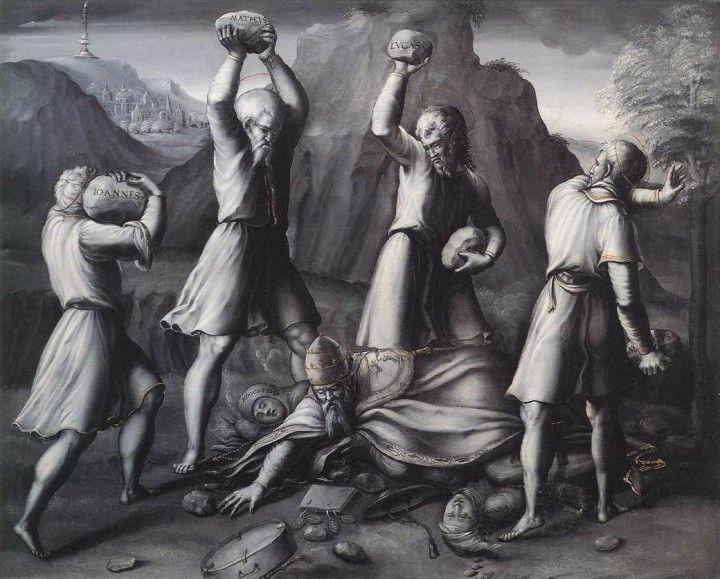 Una satira pungente fu adottata dagli artisti  che vivevano dove la riforma protestante era più diffusa, il Papa divenne un bersaglio molto frequente. Girolamo da Treviso, Lapidazione del papa ad opera dei quattro evangelisti (1536)