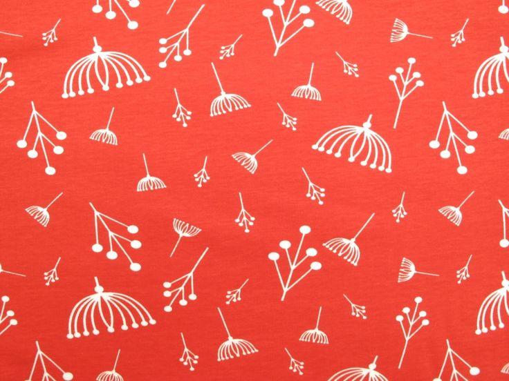 Fabric Godmother - Twigs Organic Cotton Jersey - Tomato, £16.00 (http://www.fabricgodmother.co.uk/twigs-organic-cotton-jersey-tomato/)