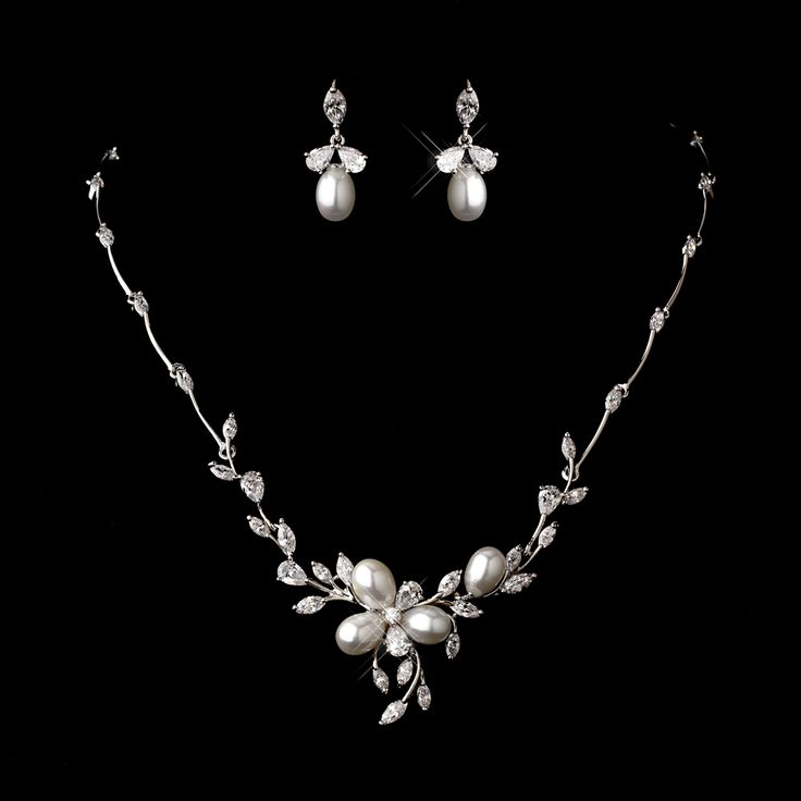 Silver Cz 17 Inch Pearl Necklace And Earrings Set