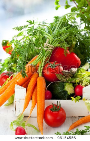 stock photo : Different fresh vegetables in a box