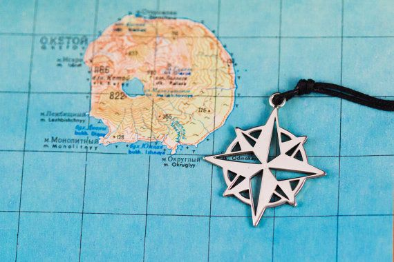 Compass Wind Rose  Pendant  for men Sterling Silver 925 от ExJe