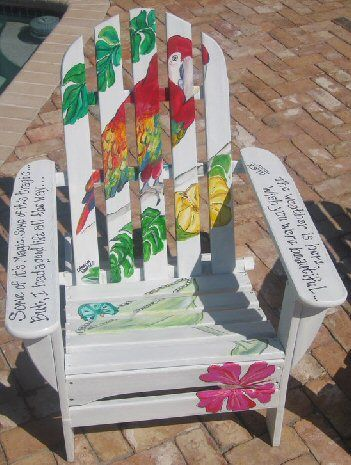 Painted Parrot Adirondack Chair