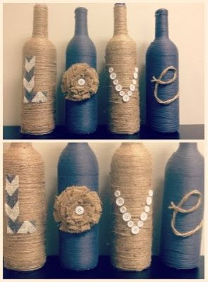 DIY vases. Yarn wrapped bottles. LOVE craft. Twine, buttons, burlap, wine bottles. Popular with the Poplins
