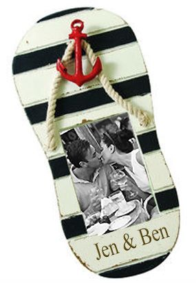 Nautical Sandal Wood Wedding Picture Frame $13 - Perfect for beach or destination wedding pictures!