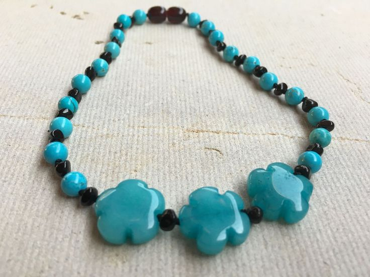 Polished Black Cherry Turquoise Jade flower 17 Inch Baltic Amber Necklace for Big Kid, Teen, Child, or Adult Asthma Allergies Breathing Purification