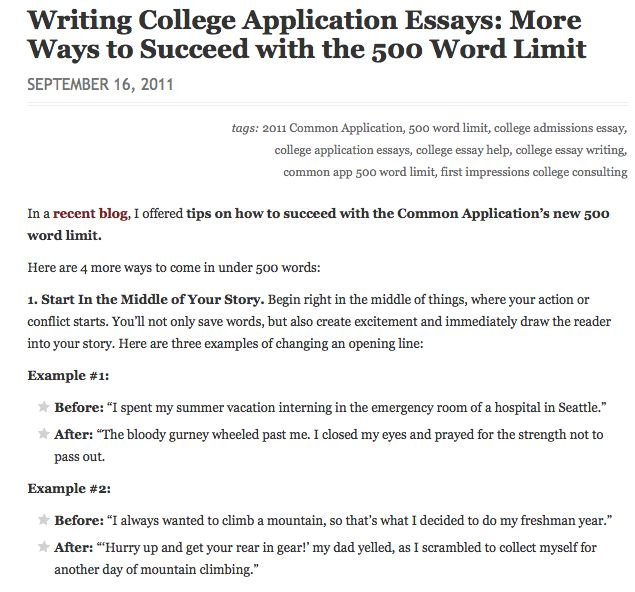 example of college application essays