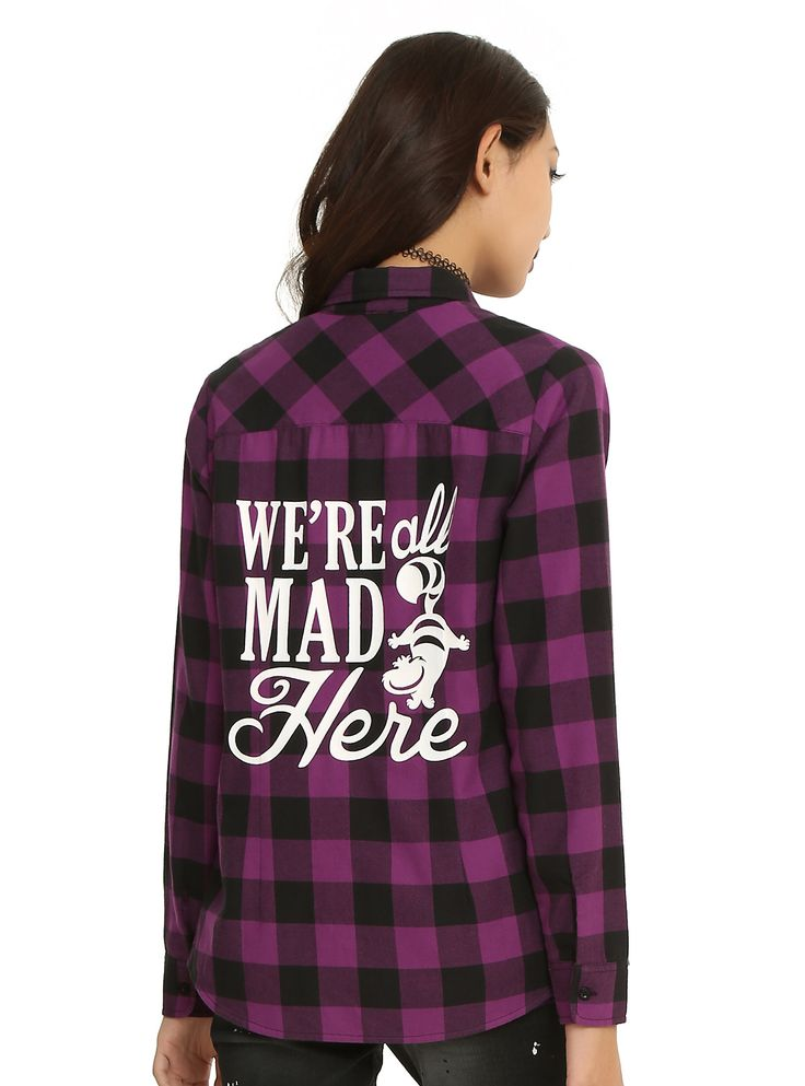 SO Mad for Plaid! // Disney Alice In Wonderland Plaid Girls Woven Top