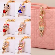 Cat Women Bag Keychain Holder Gold Plated Crystal Rhinestone Women Handbag Charm Metal Key Chains Key Rings Pendant llaveros