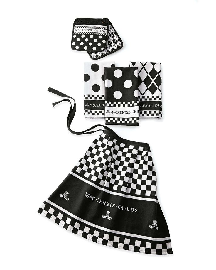 """Handcrafted kitchen linens. Made of cotton. Machine wash. Due to the nature of handcrafting, pieces may vary slightly. Set includes apron, 18""""W x 21""""L with 28""""L ties; three dish towels, each 18""""W x 26"""